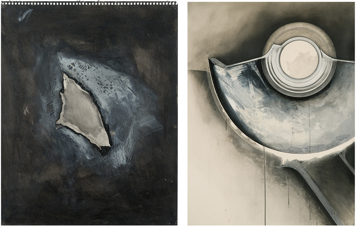 Jay DeFeo, Untitled (One O'clock Jump series), 1978. AND Jay DeFeo, Three Mile Island No. 2 (One O'clock Jump series), 1979.