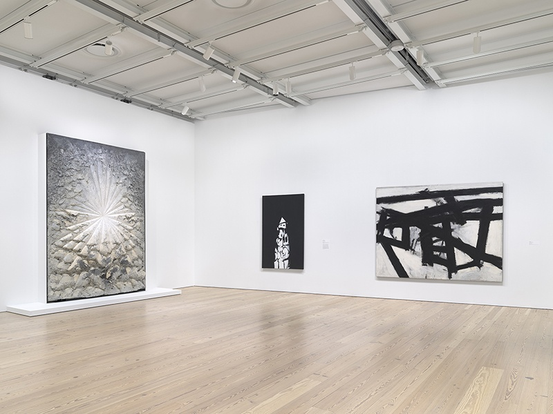 Ron Amstutz Installation view of The Whitney's Collection: Selections from 1900 to 1965 (Whitney Museum of American Art, New York, June 28, 2019- ). From left to right: Jay DeFeo, The Rose, 1958-66; Norman Lewis, American Totem, 1960; Franz Kline, Mahoning, 1956, 2019
