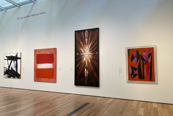 Installation view of Modern Art, June 13, 2021–Ongoing at Los Angeles County Museum of Art. From left to right: Franz Kline, The Ballantine, 1958-1960; Mark Rothko, White Center, 1957; Jay DeFeo, The Jewel, 1959; Lee Krasner, Desert Moon, 1955.